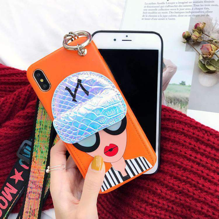Fashion Girl Print Case For iPhone With Card Holder And String