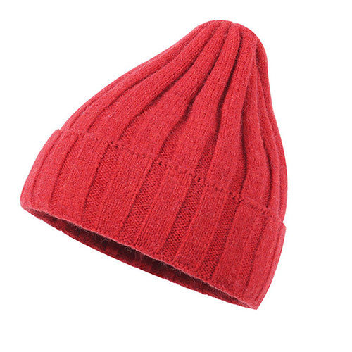 Ribbed Knit Cuffed Fuzzy Lining Beanie Hat