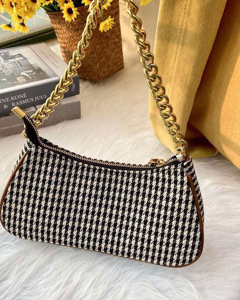 Houndstooth Graphic Chain Bag