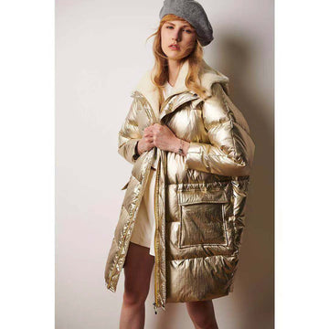 Gold Metallic Hooded Faux Lamb Wool Spliced Mid-Long Straight Puffer Jacket