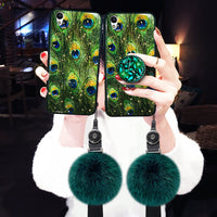 Malachite Green iPhone Case with Hair Ball and Phone Holder