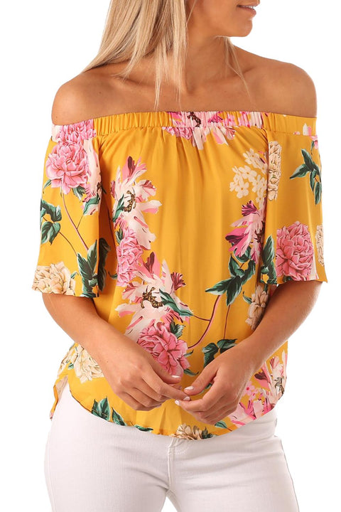 Yellow Floral Print Half Sleeve Off Shoulder Blouse gallery 1