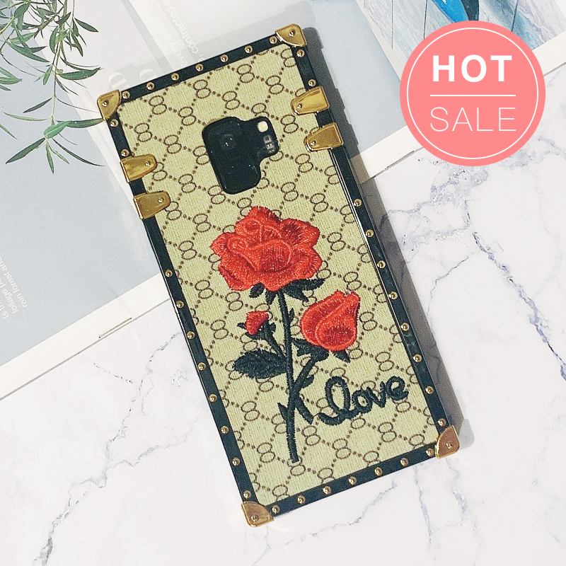 Rose Embroidered Phone Case for Samsung with Hand Strap