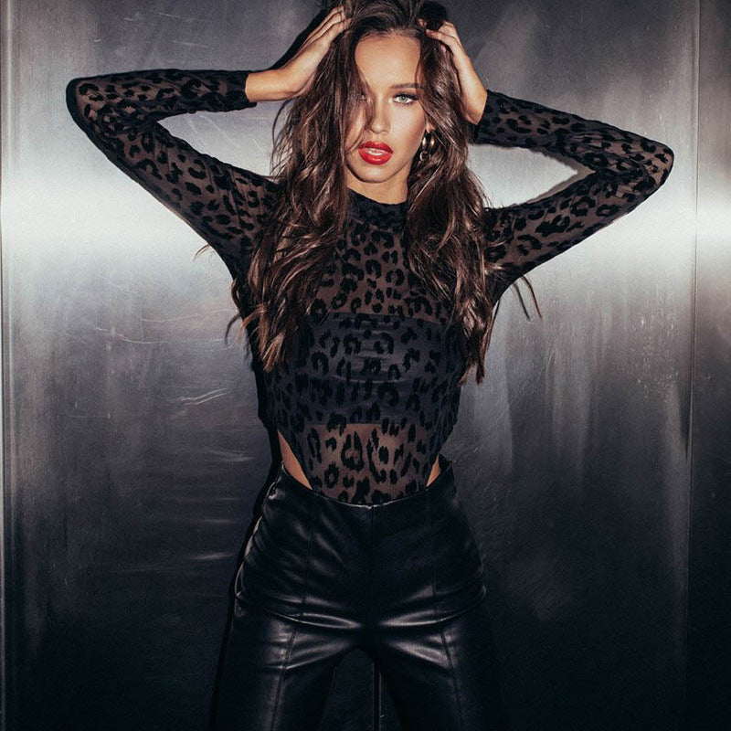Leopard Print High Neck Sheer Bodysuit