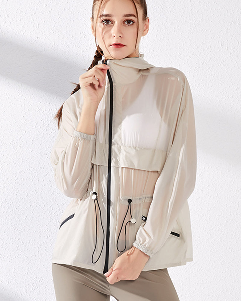 Zip Up Sheer Hooded Sports Jacket