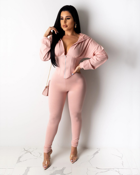 Corset Plunge Zippered Front Hooded Top & Pant Set