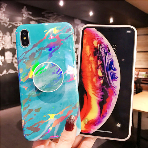 Laser Marble Texture  iPhone Case With Phone Holder