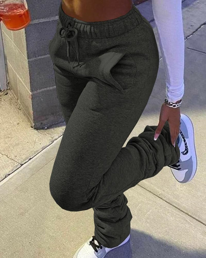 Solid Drawstring Stacked Pants gallery 3
