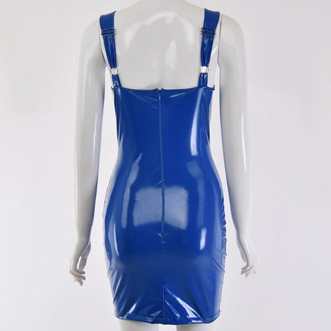 Sexy Royal Blue Patent Leather Bodycon Strappy Dress gallery 7