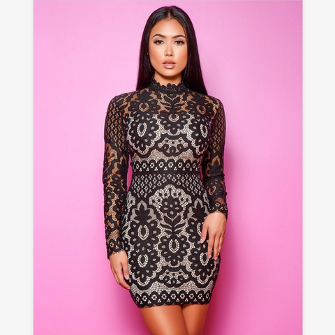 Sexy Black Floral Lace Detail Bodycon Dress