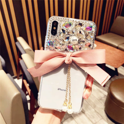 Bowknot Half Transparent & Rhinestone Phone Case for Samsung gallery 2