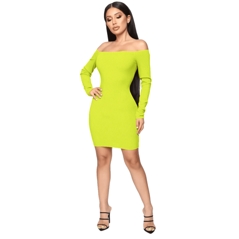 Shape Off Shoulder Ribbed Knitted Bodycon Dress gallery 2