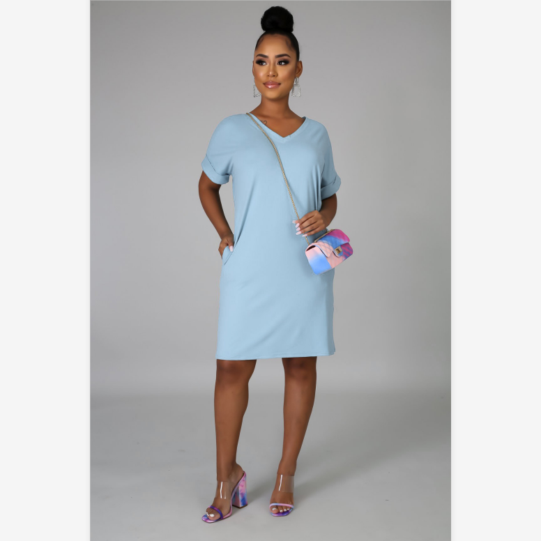 V-Neck Turn Up Sleeve Slant Pocket Lounge Dress