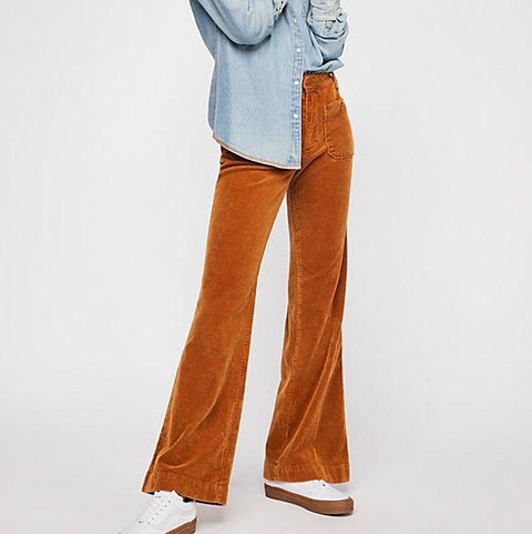 High Waist Corduroy Flare Pants