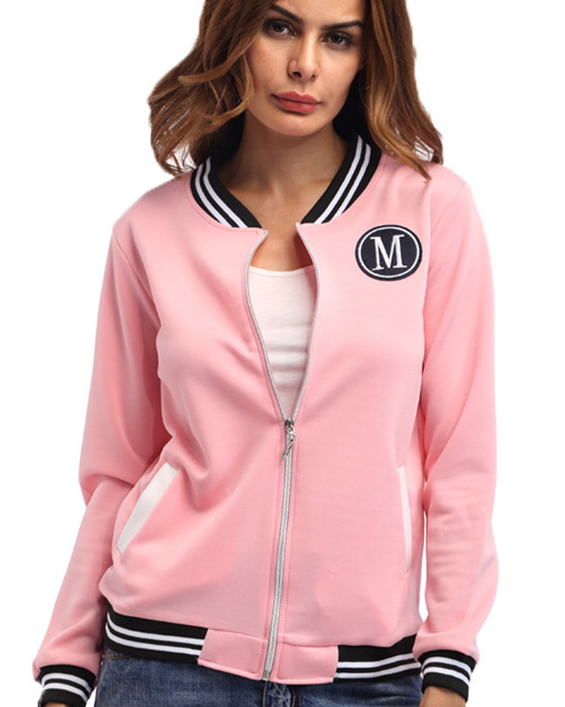 Letter Graphic Striped Zip Up Sports Jacket