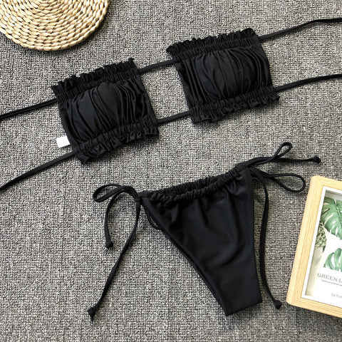 Ruched Bandeau With Tie Side Bikini Set gallery 22