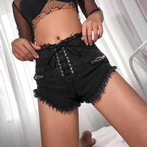 Lace Up Frayed Hem Shorts