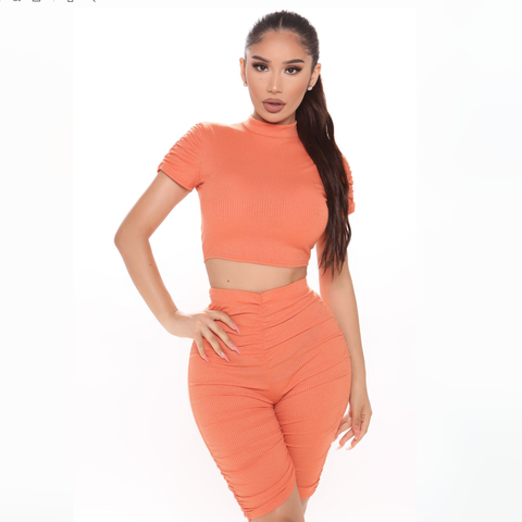 Ruched High Waist Short Sleeves Cropped Top & Short Set