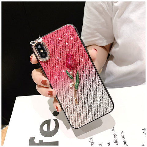 Gradient Glittering Floral iPhone Case