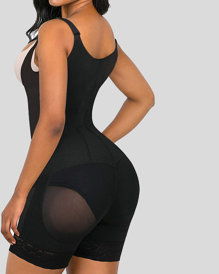 Zip Front Contrast Lace Crotchless Shapewear Romper gallery 4