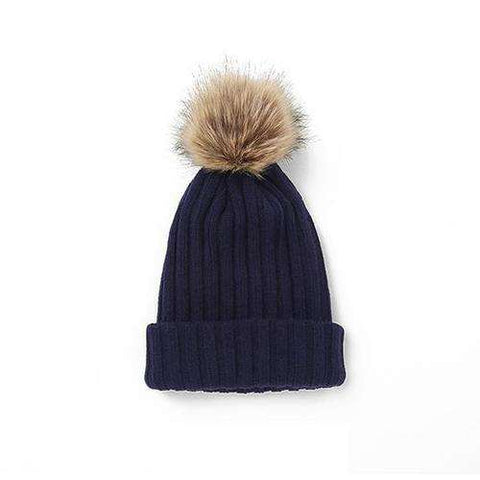 Women's Solid Color Furry Ball Double Layer Cozy Hat gallery 1
