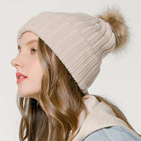 Women's Solid Color Furry Ball Double Layer Cozy Hat gallery 2