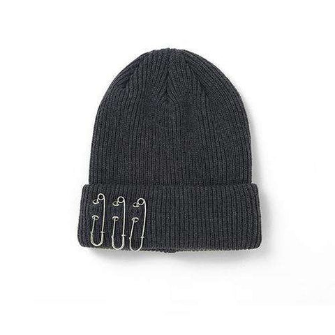 Solid-color Stitch Knit Beanie Hat with Safe Pin gallery 1