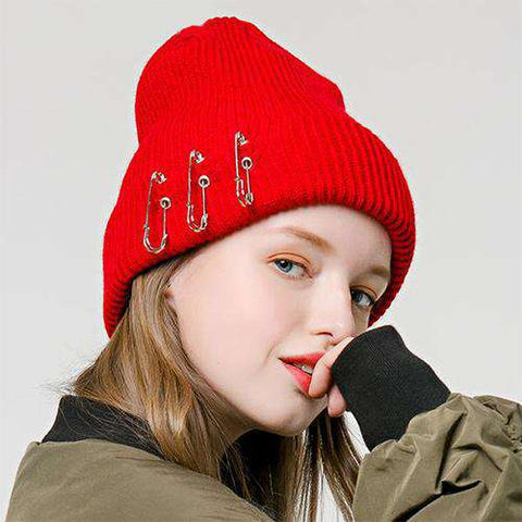 Solid-color Stitch Knit Beanie Hat with Safe Pin gallery 2