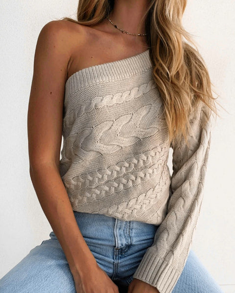 One Shoulder Cable Knit Sweater