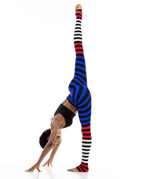Ombre Striped Wide Waistband Sports Leggings
