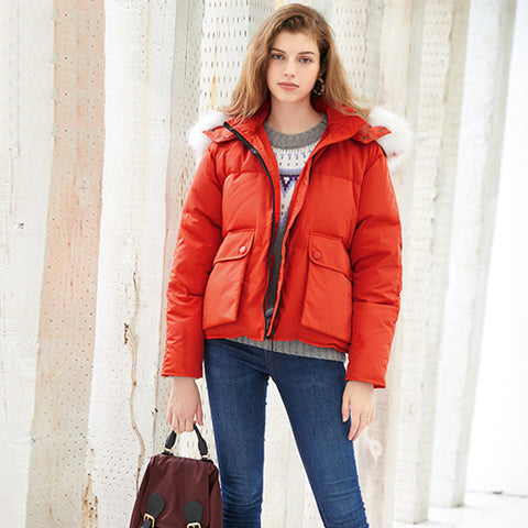 Red Colored Fur Zip Up Cropped Puffer Jacket