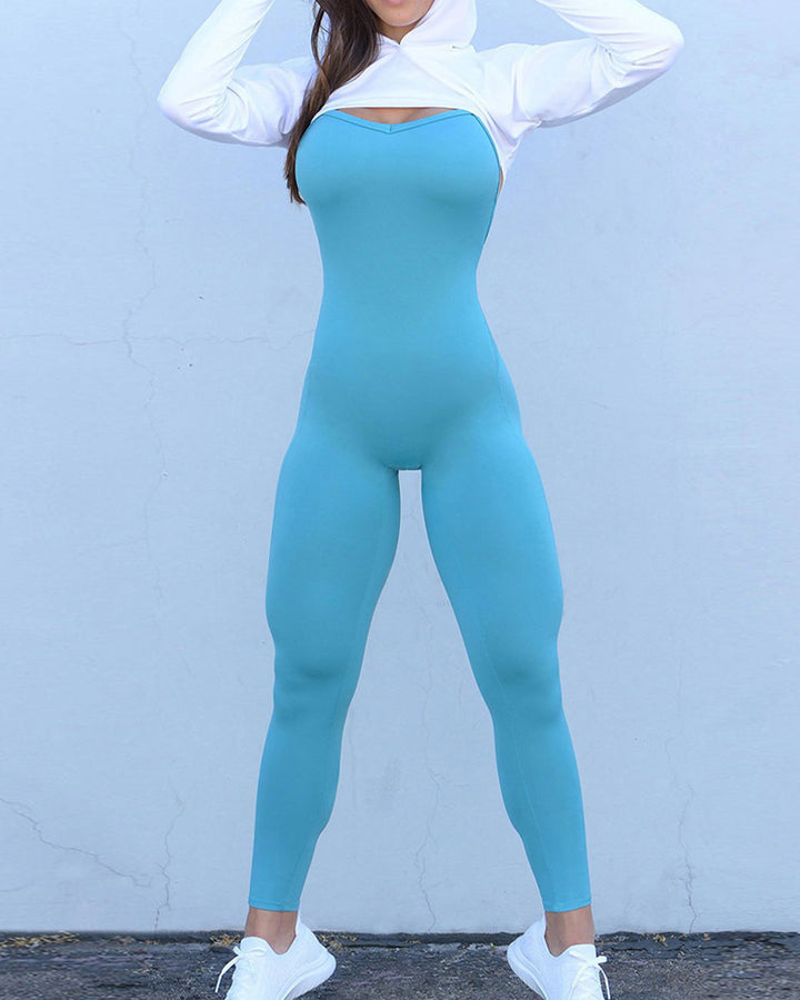 Criss Cross Cut Out Back Sports Jumpsuit gallery 7