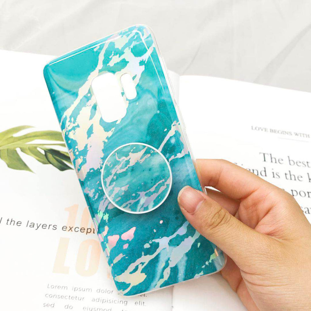 Marble Design Phone Case, Ceramic Pattern Super Slim Cover Jade Image Shell Case for Samsung with Phone Holder