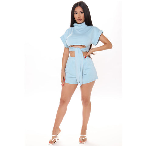 Tie Front High Neck Short Sleeves Cropped Top & Short Set