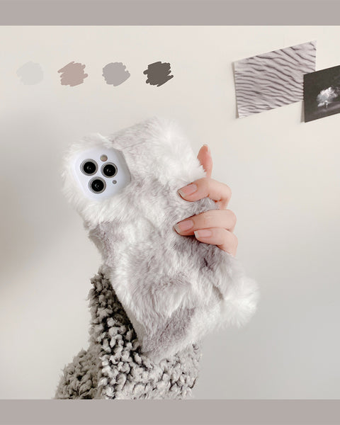Fluffy Contrast Color Flannel iPhone Case
