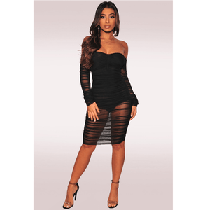 Sexy Off Shoulder Mesh Ruched Skinny Midi Dress