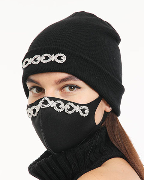 2pcs Rhinestone & Sequin Decor Face Mask & Beanie gallery 9