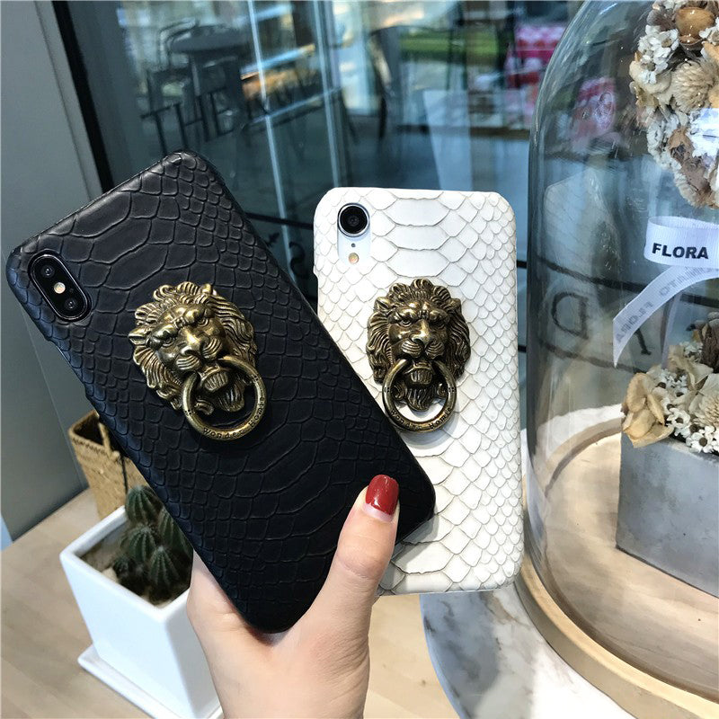 Snakeskin Print with Lion Head Phone Case For All iPhone with Stand Ring