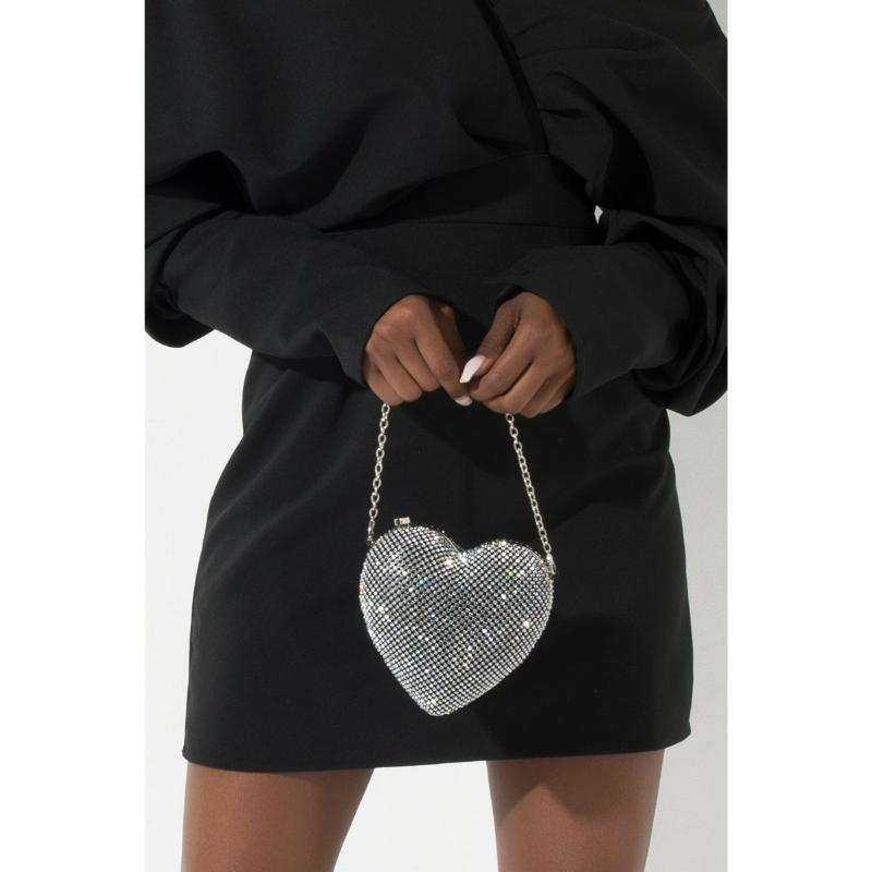 Full Rhinestone Heart Shape Clutch Bag Evening Bag