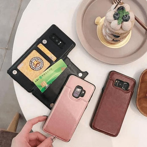 Concise Card Pluggable Leather Phone Case for Samsung