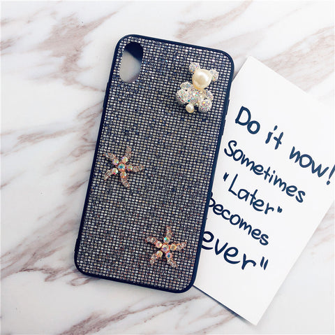 Bear & Starfish Pearl Deco Full Glittering Phone Case for Samsung gallery 6