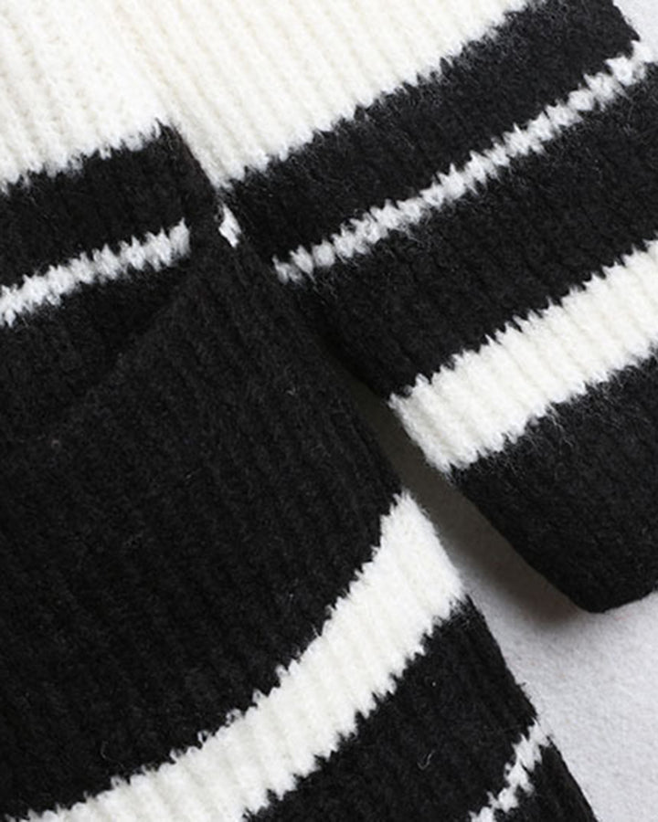 Striped Rib-Knit Dual Pocket Open Front Cardigan gallery 6