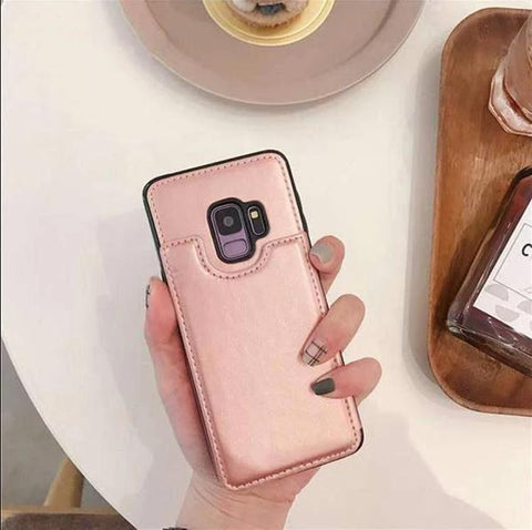 Concise Card Pluggable Leather Phone Case for Samsung gallery 3