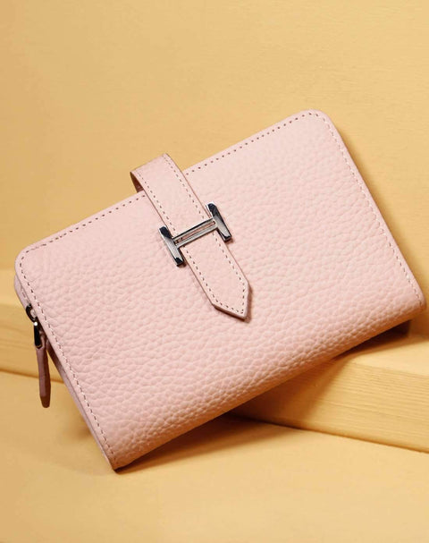 Cow Leather Thin Version Short Sized Pink Wallet gallery 5