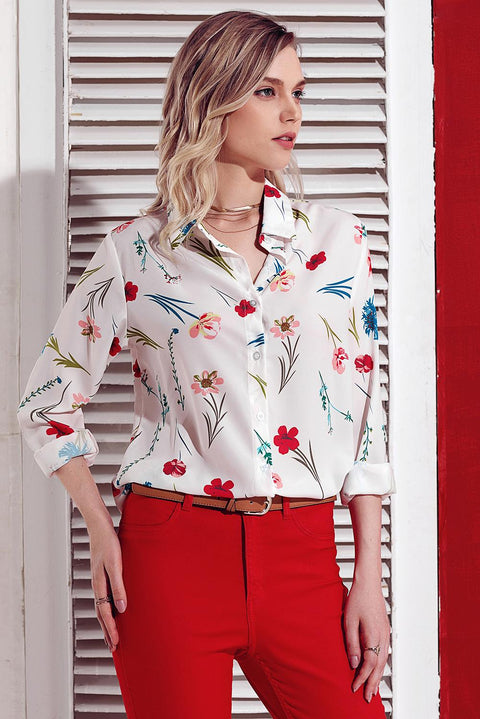 White Long Sleeve Floral Print Button Front Shirt gallery 5
