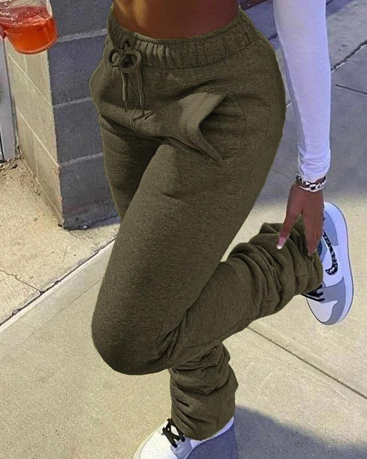 Solid Drawstring Stacked Pants gallery 13