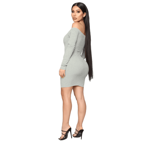 Shape Off Shoulder Ribbed Knitted Bodycon Dress gallery 11