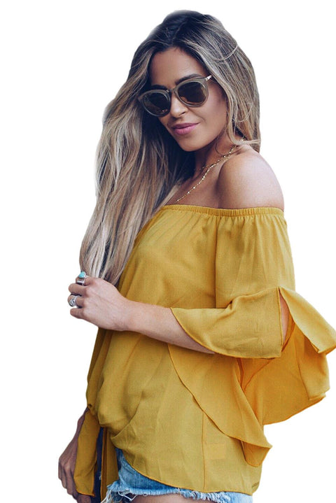 Yellow Off The Shoulder Knot Front Top gallery 2