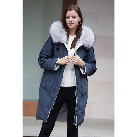 Mid-Long Raccon Fur Collar Embroidered Back Puffer Jacket