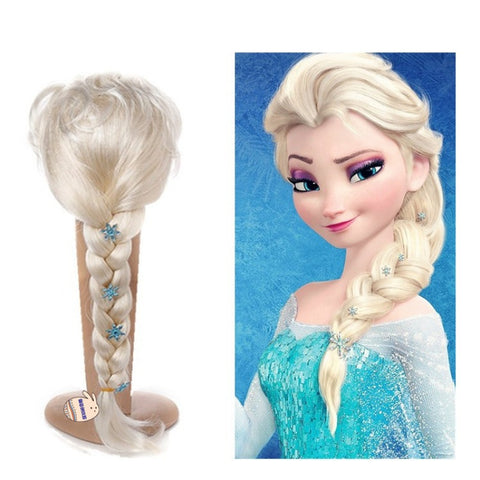 Princess Elsa Cosplay Faux Hair Braid with Flower Decoration gallery 2